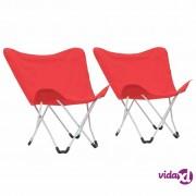 vidaXL Stolice za kampiranje u obliku leptira 2 kom sklopive crvene