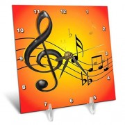 3dRose LLC 3dRose DC_46645_1 Colorful Musical Abstract with 3D Musical Notes in Black and Gold on a Bright Yellow Orange Gradient-Desk Clock, 6 by 6-Inch