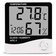Style Maniac Led Digital HTC-1 Digital LCD Thermometer Temperature Humidity Meter with Clock Calendar Alarm