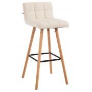 CLP Taburete de bar Lincoln V2 de polipiel con madera natural, crema crema, altura del asiento