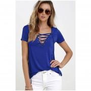 Camisa Profundo V Manga Corta Sólido Color Sexy Pull-over Mujer Azul