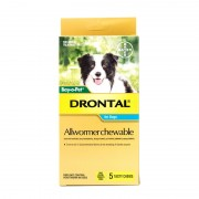 Drontal Allwormer Chewables for Medium Dogs up to 22lbs(10kg), 5 Chews Pack