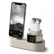 3 in 1 Charging Dock Station Phone Stand Holder for iPhone Airpods Apple Watch - Beige