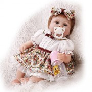"""iCradle 17"""" 42cm Reborn Baby Doll Soft Silicone Real Looking Lifelike Reborn Baby Girl Realistic Newborn Dolls New Arrival Un-Washable Xmas Gift"""