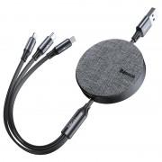 Baseus 3-in-1 Retractable USB Cable - 1.2m - Grey