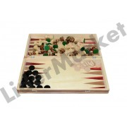 Set joc table si sah din lemn lacuit 38 x 19 cm cu piese incluse