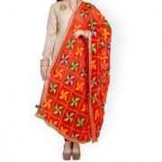 Weavers Villa Punjabi Hand Embroidery Phulkari Faux Chiffon Red Dupatta Stoles