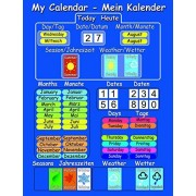 New!! English and German Educational Magnetic Calendar. Rigid wipe clean board with magnet to hang o
