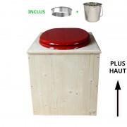 Toilette sèche - La Rouge framboise inox - rehaussée