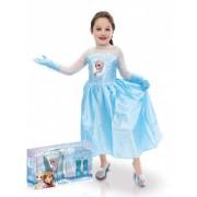 Vegaoo Elsa Frozen jurk voor meisjes met verpakking 110/116 (5-6 jaar)