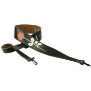 Perris Leathers P25EBJBR-101 2.5-Inch Brown Leather Embosed Banjo Strap