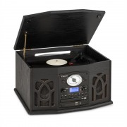 Auna NR-620 DAB, стерео система, древо, грамофон, DAB+, плейър CD, черен (MG-NR-620-DAB)
