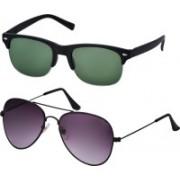 Freny Exim Clubmaster Sunglasses(Green, Violet)