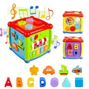 Baby Activity Cube, Shape Sorter Blocks Baby Toy 12-18 Months, Music Learning Toys for Toddlers Infant 1-3 Years Old,Early Educational Puzzle Developm
