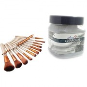 Imported Professional Makeup Brushes Set 12 + BIO CARE CHARCOAL SCRUB 500 GM - 1 pc