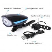 Lanterna reincarcabila 2in1 pentru bicicleta cu LED si alarma