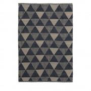 Lebrija - Tapis en tissu bleu et beige - Couleur - Bleu / Beige, Dimensions - 130x190cm