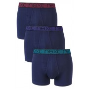Mens Next Bright Waistband A-Fronts Three Pack - Navy