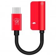 Hat Prince HC-13 USB-C / 3.5mm %26 Type-C Audio Adapter - Red