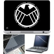 Finearts Laptop Skin B & W Logo With Screen Guard And Key Protector - Size 15.6 Inch