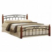 Tempo Kondela, Manželská posteľ, čerešňa/čierny kov, 180x200, DOLORES