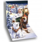 Felicitare 3d pentru iarna mos craciun cu ursii polari