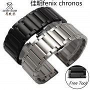 Quality stainless steel watchband 22mm black silver luxury metal band for Garmin Fenix chronos