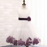 a-line knie lengte bloem meisje jurk - katoen polyester kant tule mouwloze juweel hals met bloem door ydn