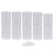Segolike 100 Pieces 40mm Clear Coins Capsules Storage Holder Cases Plastic Round Coins Box Protector