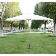 Outsunny Sombrilla tipo Parasol para Terraza y Jardín - Color Crema - Madera - 200x300x250cm