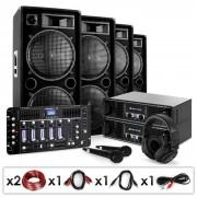 "Electronic-Star DJ PA Set ""Bass First Pro Bluetooth"" 2x Amp 4x Boxen Mixer 4000W"