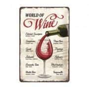 ART Blechschild World Of Wine 20 x 30