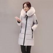 Moda Mujer Larga De Algodón Abajo Parka Con Capucha Collar Fur Coat Chaqueta De Invierno - Gris