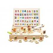 Joyeee® ABC / 123 Wooden Blocks with Tray and Drawing Pad - 104 Pcs Ultimate Alphabet and Number Block Set Educational...