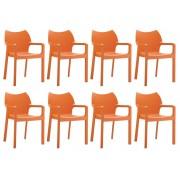 24Designs Set 8 Tuinstoelen Diva Stapelbaar - Oranje