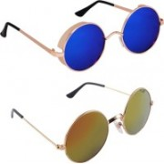 Rich Club Round Sunglasses(Blue, Golden)