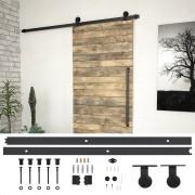 vidaXL Комплект механизъм за плъзгаща врата, 200 см, стомана, черен