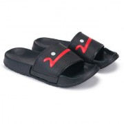 Dzvr Men's and Boy's Black with Blue Red Designed Slippers and Flip Flops Slides