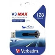 Pendrive, 128GB, USB 3.0, 175/80 MB/sec, VERBATIM V3 MAX, kék-fekete (UV128GSM)