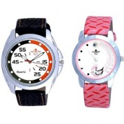 Orange Black Multi Dial And Pink Peacock Colour Couple Casual Analogue Watch By Vivah Mart