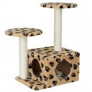[en.casa] Rascador para gatos árbol para trepar y arañar sisal centro de juegos -43 x 33 x 67cm crema con cueva