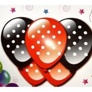 Set baloane latex rosu/negru cu buline