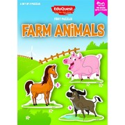 EduQuest Jigsaw Puzzle - Farm Animals - 2-4 years old - Set of 3 puzzles - 2, 3, 4 piece puzzles - Pig (2 Pcs), Horse (3 Pcs), Buffalo (4 Pcs)