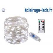 Guirlande LED usb 10m Blanc telecommande ref G10M-1