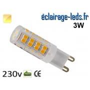 Ampoule LED G9 3w smd 2835 blanc chaud 230v ref g9-16