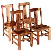 vidaXL Scaune de bucătărie 4 buc, lemn masiv sheesham