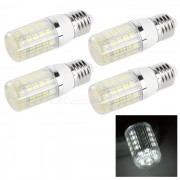 E27 4W LED maiz Lamparas Luz Blanca 350lm 36-SMD - Blanco + Negro (4PCS)