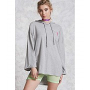 Forever21 Heathered Sneaker Patch Top Heather grey