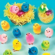 Baker Ross Coloured Mini Fluffy Chicks for Children to Decorate Spring and Easter Crafts Projects Perfect Party Bag Filler (Pack of 12)
