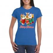 Shoppartners Foute kerstborrel t-shirt blauw kerstsokken met diertjes voor dames